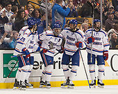 John Edwardh (UML - 29), Michael Kapla (UML - 3), Joe Gambardella (UML - 5), Dylan Zink (UML - 25), C.J. Smith (UML - 19) The University of Massachusetts-Lowell River Hawks defeated the Boston College Eagles 4-3 to win the 2017 Hockey East tournament at TD Garden on Saturday, March 18, 2017, in Boston, Massachusetts.