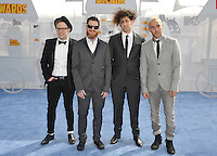 Fall Out Boy at the 2015 MTV Movie Awards at the Nokia Theatre LA Live.<br /> April 12, 2015  Los Angeles, CA<br /> Picture: Paul Smith / Featureflash
