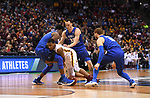 MILWAUKEE, WI - MARCH 16:  Minnesota Gophers guard Dupree McBrayer (1) goes to the floor after contact during the first half of the 2017 NCAA Men's Basketball Tournament held at BMO Harris Bradley Center on March 16, 2017 in Milwaukee, Wisconsin. (Photo by Jamie Schwaberow/NCAA Photos via Getty Images)