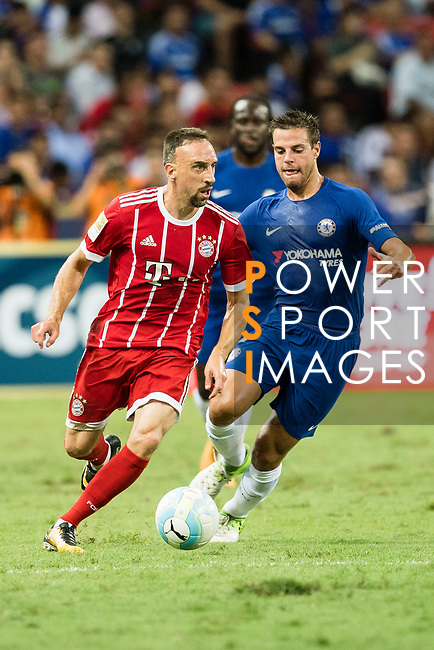 Bayern Munich Midfielder Franck Ribery (L) fights for the ball with Chelsea Defender Cesar Azpilicueta (R) during the International Champions Cup match between Chelsea FC and FC Bayern Munich at National Stadium on July 25, 2017 in Singapore. Photo by Weixiang Lim / Power Sport Images