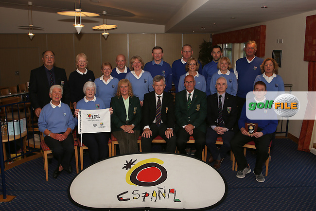 Mahee Island Team and Officials, runners up after the Ulster Mixed Foursomes Final, Shandon Park Golf Club, Belfast. 19/08/2016<br /> Picture Jenny Matthews / Golffile.ie<br /> <br /> All photo usage must carry mandatory copyright credit (&copy; Golffile | Jenny Matthews)