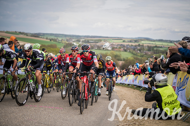 compact peloton with Greg Van Avermaet (BEL/BMC) ascends the Gulperenberg 1 last time<br /> <br /> 52nd Amstel Gold Race (1.UWT)<br /> 1 Day Race: Maastricht &rsaquo; Berg en Terblijt (264km)