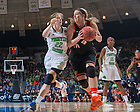 Mar 29, 2014; Oklahoma State Cowgirls forward Liz Donohoe (4) dribbles as Notre Dame Fighting Irish guard Madison Cable (22) defends in the regional semifinal game against Oklahoma State. Notre Dame won 89-72. <br /> <br /> Photo by Matt Cashore