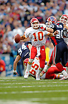 13 November 2005: Kansas City Chiefs quarterback Trent Green (10) scrambles to avoid a sack by defensive end Chris Kelsay (90) while facing the Buffalo Bills at Ralph Wilson Stadium in Orchard Park, NY. The Bills defeated the Chiefs 14-3. ..Mandatory Photo Credit: Ed Wolfstein