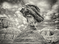 Balancing rock. Badlands National Park. South Dakota