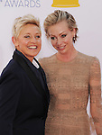 LOS ANGELES, CA - SEPTEMBER 23: Ellen Degeneres and Portia de Rossi arrive at the 64th Primetime Emmy Awards at Nokia Theatre L.A. Live on September 23, 2012 in Los Angeles, California.