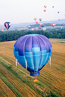 HOT AIR BALLOON IS FILLED WITH AIR HEATED BY BURNER<br /> Hot air rises in cooler air. This is the principle which allows hot air balloons to take flight.