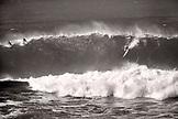 USA, Hawaii, Oahu, the North Shore, Kelly Slater on wave, Waimea Bay,  (B&W)