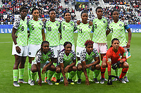 20190608 - REIMS , FRANCE : Nigerian team  pictured during the female soccer game between Norway – the Grashoppene - and Nigeria – The Super Falcons - , the first game for both teams in group A during the FIFA Women's  World Championship in France 2019, Saturday 8 th June 2019 at the Auguste Delaune Stadium in Reims , France .  PHOTO SPORTPIX.BE | DIRK VUYLSTEKE