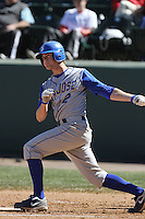 Danny Stienstra #2 of the San Jose State Spartans bats against the UCLA Bruins at Jackie Robinson Stadium in Los Angeles,California on February 27, 2011. Photo by Larry Goren/Four Seam Images