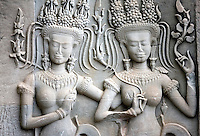 Apsaras, or divine dancers, are engraved on reliefs in Angkor Wat temple, in Ankgor, Cambodia, on October 6, 2009. Angkor Wat (or Angkor Vat), is a temple complex at Angkor built for the king Suryavarman II in the early 12th century as his state temple and capital city. Angkor used to be the seat of the Khmer empire, which flourished from approximately the ninth century to the thirteenth century. The ruins of Angkor temples are a UNESCO World Heritage Site. Photo by Lucas Schifres/Pictobank