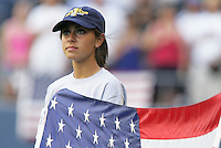 USA girl holds the USA flag. USA defeated Grenada 4-0 during the First Round of the 2009 CONCACAF Gold Cup at Qwest Field in Seattle, Washington on July 4, 2009.