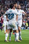 "Real Madrid Marco Asensio, Francisco Roman ""Isco""  and Dani Ceballos celebrating a goal during La Liga match between Real Madrid and Eibar at Santiago Bernabeu Stadium in Madrid, Spain. October 22, 2017. (ALTERPHOTOS/Borja B.Hojas)"