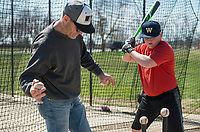 NWA Democrat-Gazette/BEN GOFF @NWABENGOFF<br /> Brayden Bice, a freshman at Bentonville West High, takes a hitting lesson from Curt Yarrington, a former baseball assistant coach at Bentonville High and currently the golf coach at Bentonville West, Wednesday, March, 21, 2018, at Memorial Park in Bentonville.