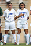 01 September 2013: Duke's Christina Gibbons (31) and Mollie Pathman (24). The Duke University Blue Devils played the University of New Mexico Lobos at Fetzer Field in Chapel Hill, NC in a 2013 NCAA Division I Women's Soccer match. Duke won the game 1-0.