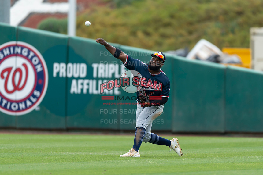 Reno Aces right fielder Abraham Almonte (7) during a game against the Fresno Grizzlies at Chukchansi Park on April 8, 2019 in Fresno, California. Fresno defeated Reno 7-6. (Zachary Lucy/Four Seam Images)