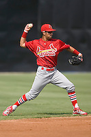 Shortstop Nico Vasquez (26) of the Johnson City Cardinals makes a throw to first base at Dan Daniels Park in Danville, VA, Sunday July 27, 2008.