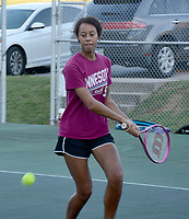 Graham Thomas/Herald-Leader<br /> Siloam Springs tennis player Shealy Soucie prepares to hit the ball during practice on July 23 at the JBU Tennis Complex.