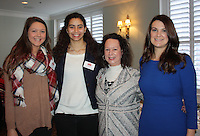 NWA Democrat-Gazette/CARIN SCHOPPMEYER Rachel Rippee (from left) Ana Sofia Jusino, Terry Hufford and Leah Hufford attend the Razorback Foundation luncheon.