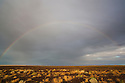 Australia, South Australia; rainbow above desert south of Lake Eyre