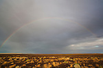 Australia, South Australia; rainbow above desert south of Lake Eyre