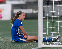 Allston, Massachusetts - August 4, 2017:  In a National Women's Soccer League (NWSL) match, Boston Breakers (blue) tied FC Kansas City (white), 2-2, at Jordan Field.<br /> After a goal against.