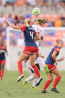 Houston, TX - Sunday Oct. 09, 2016: Megan Oyster, Lynn Williams during the National Women's Soccer League (NWSL) Championship match between the Washington Spirit and the Western New York Flash at BBVA Compass Stadium. The Western New York Flash win 3-2 on penalty kicks after playing to a 2-2 tie.
