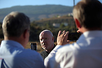 Pictured: Detective Inspector Jon Cousins of South Yorkshire Police briefs the media at the new search site in Kos, Greece. Friday 07 October 2016<br /> Re: Police teams led by South Yorkshire Police, searching for missing toddler Ben Needham on the Greek island of Kos have moved to a new area in the field they are searching.<br /> Ben, from Sheffield, was 21 months old when he disappeared on 24 July 1991 during a family holiday.<br /> Digging has begun at a new site after a fresh line of inquiry suggested he could have been crushed by a digger.