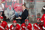 Wisconsin Badgers head coach Mike Eaves lools on during an NCAA hockey game against the Alabama Huntsville Chargers at the Kohl Center in Madison, Wisconsin on October 15, 2010. The Badgers won 7-0. (Photo by David Stluka)