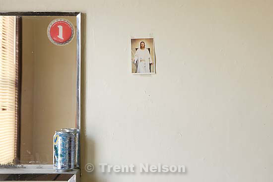 jesus christ card and soda can. Stratford Hotel; 2.10.2006<br />