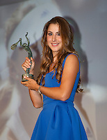 France, Paris, 03.06.2014. Tennis, French Open, Roland Garros, ITF Champions diner, World Champion junior girls tennis Belinda Benic (SUI) receives the trophy<br /> Photo:Tennisimages/Henk Koster