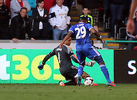 Sunday, 13 April 2014<br /> Pictured L-R: Goalkeeper Michel Vorm of Swansea is challenging Samuel Eto'o of Chelsea some distance from his goalposts <br /> Re: Barclay's Premier League, Swansea City FC v Chelsea at the Liberty Stadium, south Wales,