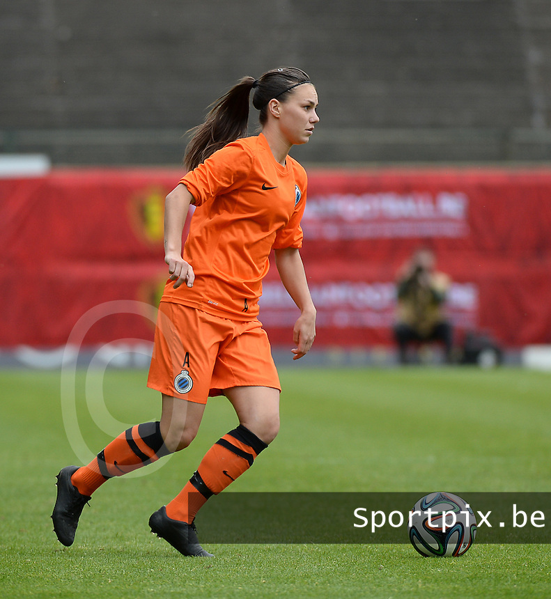 20150514 - BEVEREN , BELGIUM : Brugge's Jassina Blom pictured during the final of Belgian cup, a soccer women game between SK Lierse Dames and Club Brugge Vrouwen , in stadion Freethiel Beveren , Thursday 14 th May 2015 . PHOTO DAVID CATRY
