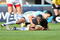 High Wycombe, England. Simon McIntyre of London Wasps score the only try of the game during the Aviva Premiership match between London Wasps and Worcester Warriors at Adam Park on October 7, 2012 in High Wycombe, England.