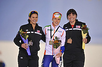 SCHAATSEN: SALT LAKE CITY: Utah Olympic Oval, 16-11-2013, Essent ISU World Cup, podium 1500m, Brittany Bowe (USA), Ireen Wüst (NED), Heather Richardson (USA), ©foto Martin de Jong