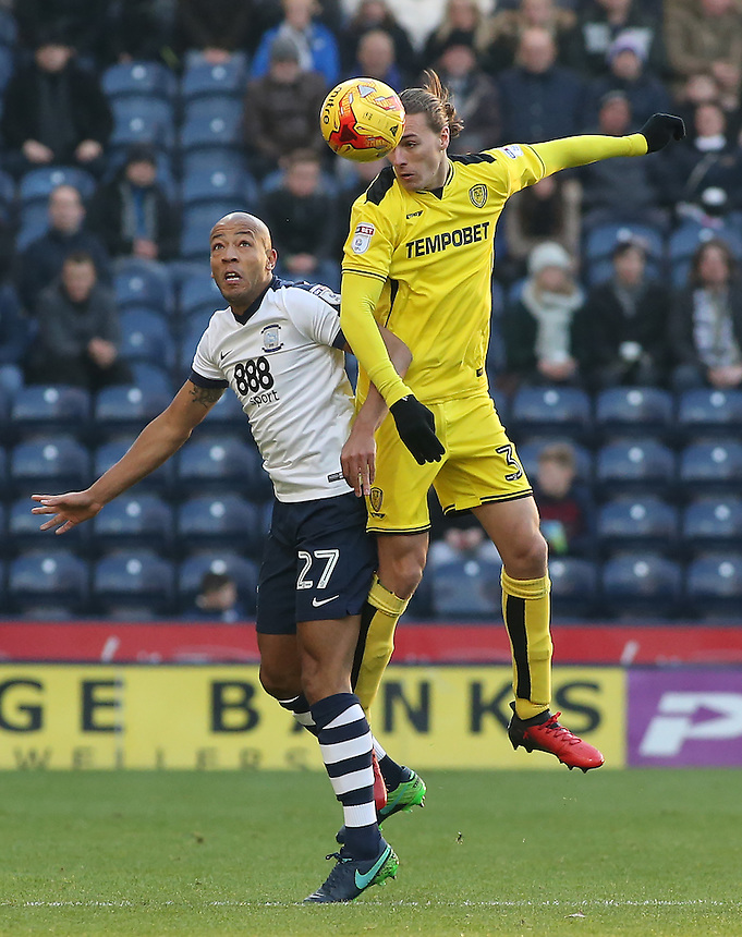 Preston North End's Alex John-Baptiste battles with Burton Albion's Jackson Irvine<br /> <br /> Photographer David Shipman/CameraSport<br /> <br /> The EFL Sky Bet Championship - Preston North End v Burton Albion - Saturday 26th November 2016 - Deepdale<br /> <br /> World Copyright &copy; 2016 CameraSport. All rights reserved. 43 Linden Ave. Countesthorpe. Leicester. England. LE8 5PG - Tel: +44 (0) 116 277 4147 - admin@camerasport.com - www.camerasport.com