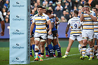 Semesa Rokoduguni of Bath Rugby celebrates his first half try with team-mates. Gallagher Premiership match, between Bath Rugby and Worcester Warriors on November 17, 2018 at the Recreation Ground in Bath, England. Photo by: Patrick Khachfe / Onside Images