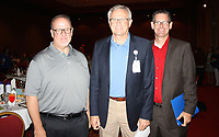 NWA Democrat-Gazette/CARIN SCHOPPMEYER Clark Ellison, Mercy Health Foundation regional vice president (from left); Dr. Steve Goss, Mercy Clinic Northwest Arkansas president; and Patrick Skinner, Mercy director of hospital therapy and sports medicine attend the Beat the Heat luncheon July 27.