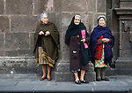 Elderly women on the street in Morelia watching President Felipe Caderon during filming of Mexico The Royal Tour
