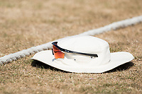 Nathan Sowter's headgear left behind the boundary rope whilst he bowls during Middlesex CCC vs Hampshire CCC, Bob Willis Trophy Cricket at Radlett Cricket Club on 11th August 2020