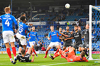 Ellis Harrison of Portsmouth (22) heads the first goal during Portsmouth vs Birmingham City, Caraboa Cup Football at Fratton Park on 6th August 2019