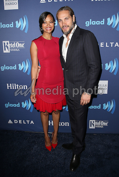21 March 2015 - Beverly Hills, California - Zoe Saldana, Marco Perego. 26th Annual GLAAD Media Awards held at The Beverly Hilton Hotel. Photo Credit: F. Sadou/AdMedia