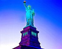 Statue Of Liberty at Sunset, Statue of Liberty National Monument, New York    Symbol of American freedom  at entrance to New York  harbor