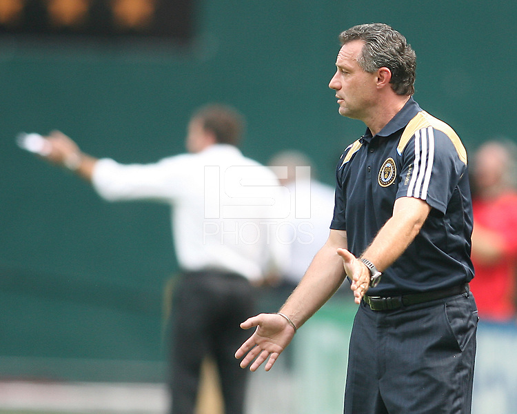 Peter Nowak, head coach of the Philadelphia Union during an MLS match against D.C. United at RFK Stadium on August 22 2010, in Washington DC. United won 2-0.