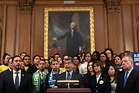 California Attorney General Xavier Becerra, joined by Democratic lawmakers, speaks during a press conference on the Deferred Action for Childhood Arrivals program on Capitol Hill in Washington D.C., U.S. on Tuesday, November 12, 2019.  The Supreme Court is currently hearing a case that will determine the legality and future of the DACA program.  <br /> <br /> Credit: Stefani /CNP /MediaPunch