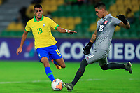 ARMENIA, COLOMBIA - JANUARY 19: Brazil's Reinier fights for the ball against Peru's goalkeeper Renato Solis during their CONMEBOL Pre-Olympic soccer game at Centenario Stadium on January 19, 2020 in Armenia, Colombia. (Photo by Daniel Munoz/VIEW press/Getty Images)