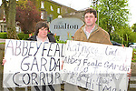 Dan and Mary Doherty Templeglantine protesting outside the GRA conference in the Malton Hotel on Tuesday