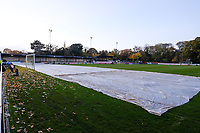 Covers on ahead of Hampton & Richmond Borough vs Oldham Athletic, Emirates FA Cup Football at the Beveree Stadium on 12th November 2018