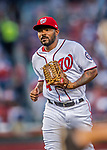 15 August 2017: Washington Nationals outfielder Howie Kendrick trots back to the dugout during a game against the Los Angeles Angels at Nationals Park in Washington, DC. The Nationals defeated the Angels 3-1 in the first game of their 2-game series. Mandatory Credit: Ed Wolfstein Photo *** RAW (NEF) Image File Available ***