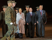 In the front row, United States Representative Lisa Blunt-Rochester (Democrat of Delaware), left, United States Senator Chris Coons (Democrat of Delaware), center, and United States Senator Tom Carper (Democrat of Delaware), right, look on as a US Marine Corps carry team participates in the Dignified Transfer of the transfer case containing the remains of US Marine Corps Staff Sergeant Christopher A. Slutman at Dover Air Force Base in Dover, Delaware on April 11, 2019.  He died as the result of a road-side bomb in Afghanistan on April 8, 2019.  Staff Sergeant Slutman, a decorated 15 year veteran of the Fire Department of New York (FDNY), was married and had three children.<br /> Credit: Ron Sachs / CNP<br /> (RESTRICTION: NO New York or New Jersey Newspapers or newspapers within a 75 mile radius of New York City)